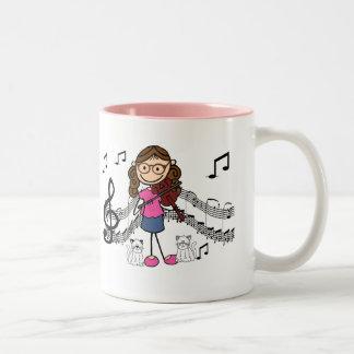 Customized Stick Figure Violin Player Mug