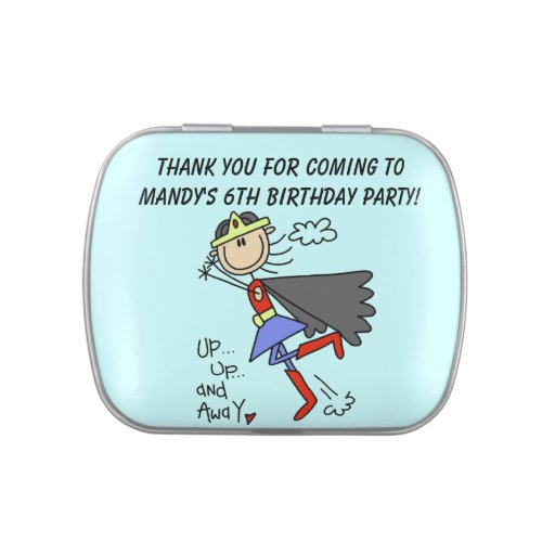 Customized Super Girl Birthday Candy Tins and Jars
