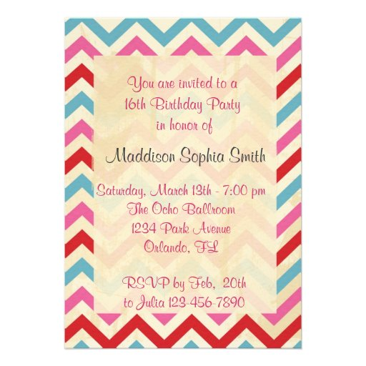 Customized Sweet 16 Birthday Invitations
