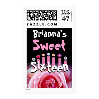 Customized Sweet 16th Birthday Pink Rose & Candles Postage