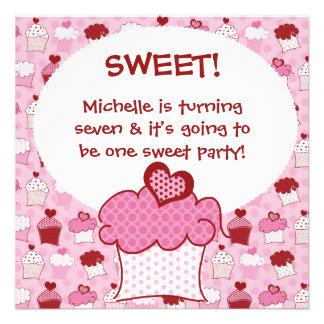 Customized Sweet Cupcake Birthday Invites