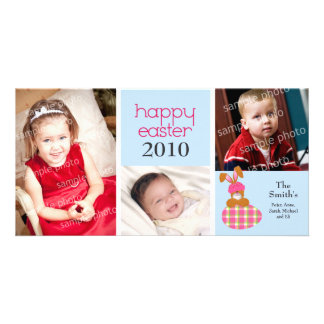 Customized Sweet Happy Easter 3-Photo Card: blue Card