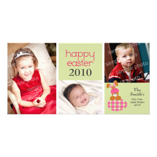 Customized Sweet Happy Easter 3-Photo Card: green Card