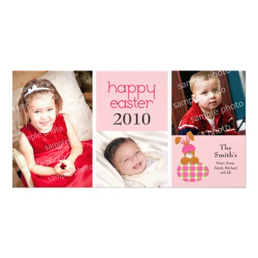 Customized Sweet Happy Easter 3-Photo Card: pink Photo Card