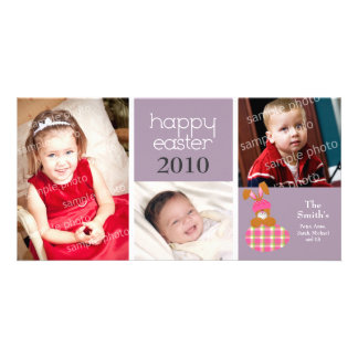 Customized Sweet Happy Easter 3-Photo Card: purple Card