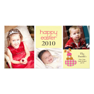 Customized Sweet Happy Easter 3-Photo Card: yellow Card