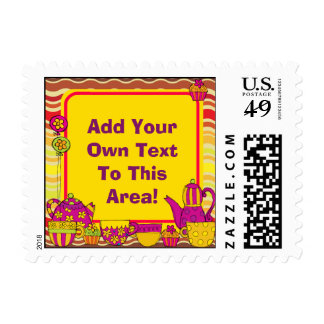 Customized Tea Party Postage Stamps