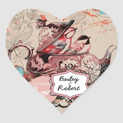 Customized Teapot Fantasy Grunge Heart Stickers