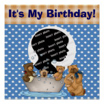 Customized Teddy Bear Birthday Poster