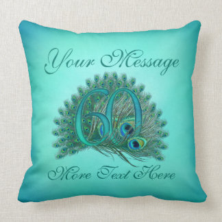 Customized text 60th Birthday or anniversary Throw Pillow