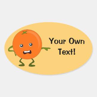 Customized Text Orange Cartoon Character Oval Sticker