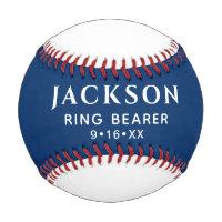 Customized Text Wedding Favor Ring Bearer Keepsake Baseball