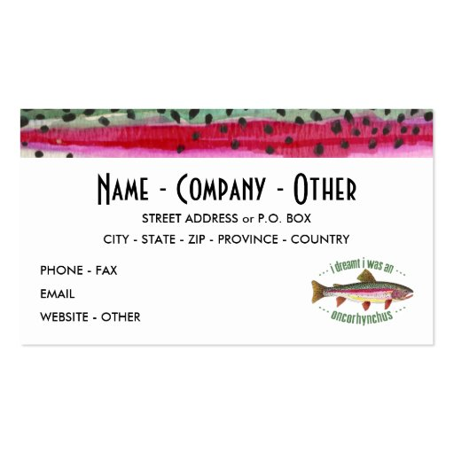 Customized Trout Fishing Business Card Template