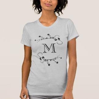 Customized Tu monograma and spring flowers T-shirt