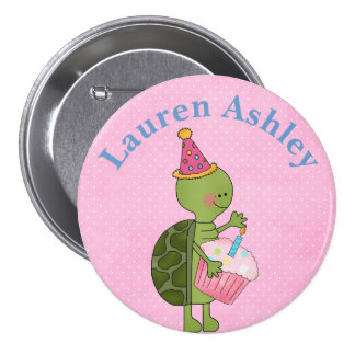 Customized Turtle and Cupcake  Birthday Button