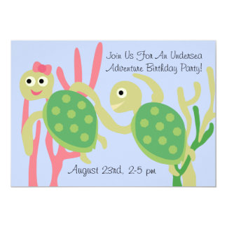 "Customized Turtle Undersea Birthday Invitation 5"" X 7"" Invitation Card"