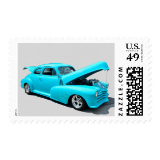 Customized Vibrant Blue Car Postage Stamp