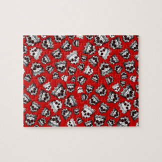 Customized Vintage Crowned Skulls Jigsaw Puzzle
