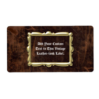 Customized VintageLeather look Label Shipping Label