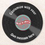 "Customized Vinyl Record Round Paper Coaster<br><div class=""desc"">Classic vinyl record beer mats to customize with your own text wrapping round the record. Click customize to change size,  font or color of text and make it personal for your celebration or events.</div>"