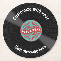 Customized Vinyl Record Round Paper Coaster