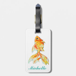 Customized Watercolor Goldfish Leather Luggage Tag