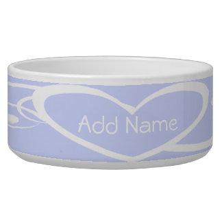 Customized White Heart on Lilac Dog Bowl