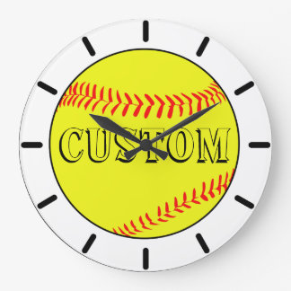 Customized White Softball Wall Clock