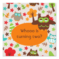 Customized Whoot Owl Birthday Invites