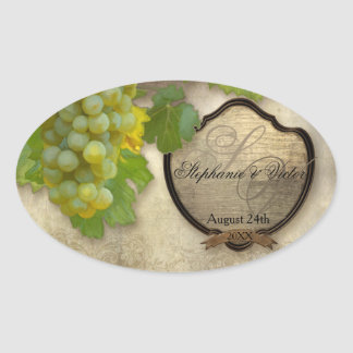 Customized Wine Bottle Label Chardonnay Grapes Art