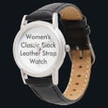 "Customized Women Classic Black Leather Strap Watch<br><div class=""desc"">Customized Women&#39;s Classic Black Leather Strap Watch. Customize a fantastic Women&#39;s Classic Leather Watch from eWatchFactory. A genuine leather strap hugs your wrist and an alloy case protects the watch face. You can add your favorite picture,  design,  text,  or image for a personal style.</div>"