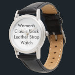 """Customized Women Classic Black Leather Strap Watch<br><div class=""""desc"""">Customized Women&#39;s Classic Black Leather Strap Watch. Customize a fantastic Women&#39;s Classic Leather Watch from eWatchFactory. A genuine leather strap hugs your wrist and an alloy case protects the watch face. You can add your favorite picture,  design,  text,  or image for a personal style.</div>"""