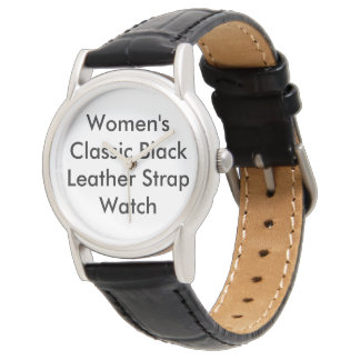 Customized Women Classic Black Leather Strap Watch