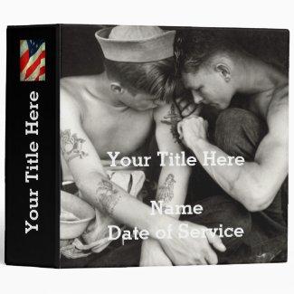 Customized WWII Navy Veteran Photo Album 3 Ring Binder