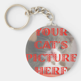 Customized Your Cat's Photo Basic Round Button Keychain