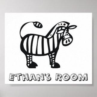 Customized Zebra Children's Room Poster