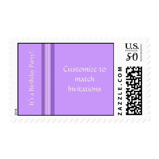 Customizes Purple Birthday Party Stamp