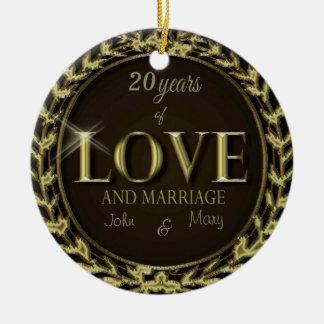 CustomizeYears of Love Brown Ceramic Ornament