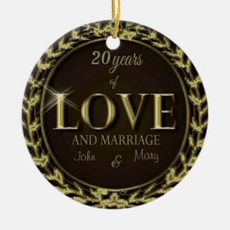 CustomizeYears of Love Brown Christmas Tree Ornament