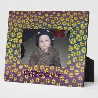 CustomPurple Yellow Blue Groovy  Frame Plaque