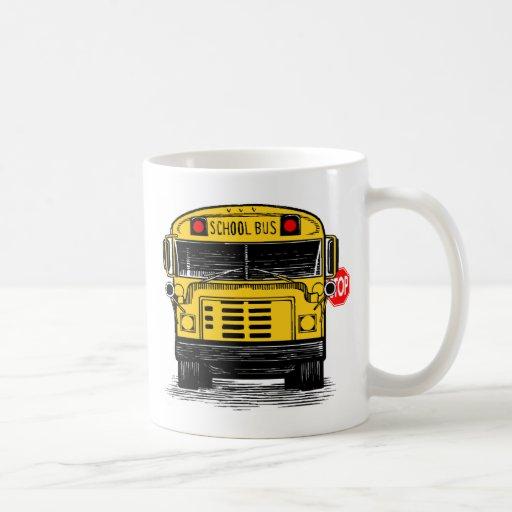 customschoolbuswithstopsignmug coffee mugs