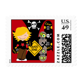 Custon Blond Skateboarding Postage Stamps