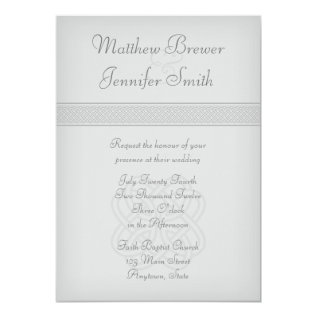 Custon Gray Irish Celtic Knot Wedding Invitation at Zazzle