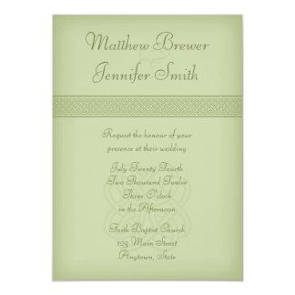 Custon Green Irish Celtic Knot Wedding Invitation