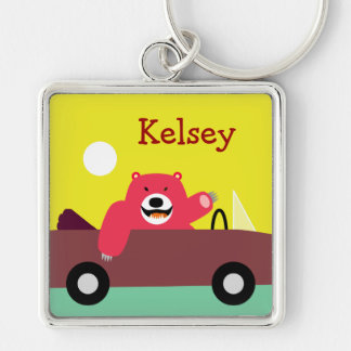 Custsomizable Bear Keyring Silver-Colored Square Keychain