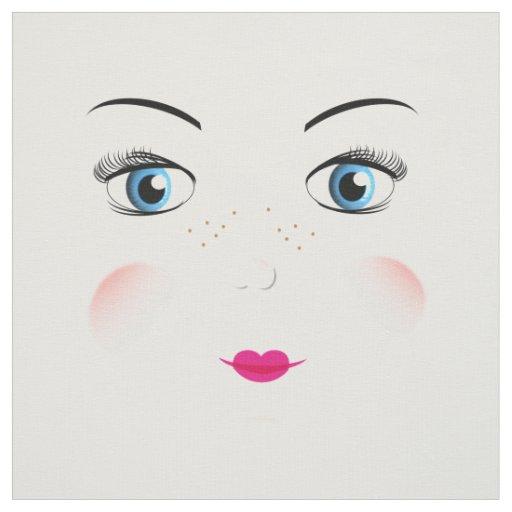 Cut And Sew Cute Big Blue Eyed Rag Doll Faces Fabric