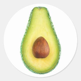 Cut avocado fruit classic round sticker
