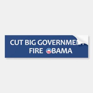Cut Big Government Fire Obama Car Bumper Sticker