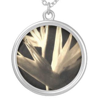 Cut Bird of Paradise Flowers 1 Antiqued Round Pendant Necklace