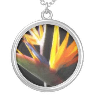 Cut Bird of Paradise Flowers 1 Painterly Round Pendant Necklace